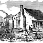 Union General Nathaniel Banks' headquarters near Edward's Ferry, MD. Banks arrived at Edward's Ferry in the early morning hours of October 22nd to support General Stone's forces (Frank Leslie's Illustrated Newspaper, November 16, 1861; NPS History Collection)