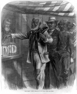"""The First Vote,"" depicting African American men voting in the South after the passage of the Reconstruction Acts of 1867  (Harper's Weekly, November 16, 1867; Library of Congress)"