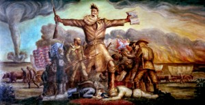 The Tragic Prelude, a mural by John Steuart Curry, depicts John Brown and events leading to the Civil War. (Courtesy of Kansas State Historical Society)