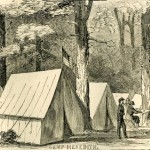 Camp Meredith near Greencastle, PA, a Union encampment early in the war (Harper's Weekly, July 6, 1861; NPS History Collection)