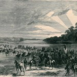 Confederate cavalry fording the Potomac River on June 11, 1863 (Frank Leslie's Illustrated Newspaper, July 4, 1863, p. 236; courtesy of Tim Snyder)
