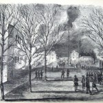 The Union garrison at Harpers Ferry burned the U.S. arsenal and shops on the evening of April 18, 1861, as Confederate troops approached the town (Frank Leslie's Illustrated Newspaper, April 30, 1861; NPS History Collection)