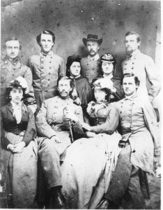 Elizabeth White sits to the right of her husband Lt. Col. Elijah White in center. Behind her stand Kate and Betsie Ball, the daughters of Henry Ball. To the left of Lt. Col. White sits Annie Hempstone.  (Thomas Balch Library Visual Collections)