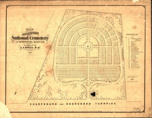 "The plan of Antietam National Cemetery as designed by A.A. Biggs in 1866; note #28, ""Genl Lee's Rock"" in the bottom right corner of the map. (Library of Congress)"