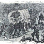 Men of the 12th Massachusetts Regiment pushing their baggage wagon during a storm near Hyattstown, MD (Frank Leslie's Illustrated Newspaper, September 14, 1861; NPS History Collection)