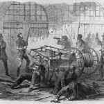 Col Washington and other hostages inside the engine house just before the gate is broken down (Frank Leslie's Illustrated Newspaper, Nov. 5, 1859; Library of Congress)