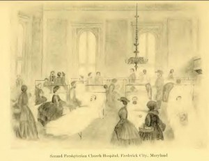 Ladies of Frederick visiting the wounded in the Presbyterian Church hospital in Frederick  (Charles F. Johnson, The Long Roll, 1911)