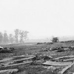 The remains of gun carriages, horses, and men testify to the ferocity of combat along the field where General Sumner's soldiers charged (September 1862, Alexander Gardner, photographer; Library of Congress)