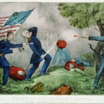 """""""Death of Col. Edward D. Baker: At the Battle of Ball's Bluff near Leesburg, Va., Oct. 21st 1861,"""" lithograph c. 1861 by Currier & Ives, New York (Library of Congress)"""