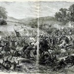 Calvary engagement in Boonsboro on July 8, 1863, between Confederate General J.E.B. Stuarts cavalry and that of Union Generals H. Judson Kilpatrick and John Buford (C.E.H. Bonwill, artist; Paul F. Mottelay and T. Campbell-Copeland, eds., The Soldier in our Civil War: A Pictorial History of the Conflict, 1861-1865, vol. 2 [New York: Stanley Bradley Publishing Company, 1893], 126-127; appeared originally in Frank Leslie's Illustrated Newspaper, August 8, 1863)