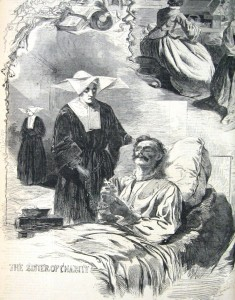 The Daughters of Charity from Emmitsburg, Maryland, ministered to the sick and wounded after several engagements in the region, and especially after the Battle of Gettysburg (Harper's Weekly, September 6, 1862; NPS History Collection)