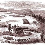 A Confederate battery overlooks the Potomac River by Harpers Ferry (D.H. Strother, artist, Harpers New Monthly Magazine, June 1866:19)