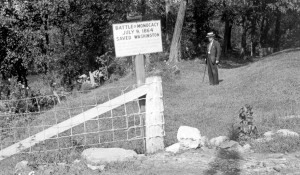 Sign marking the Battle of Monocacy, c.1930s (Historical Society of Frederick County)