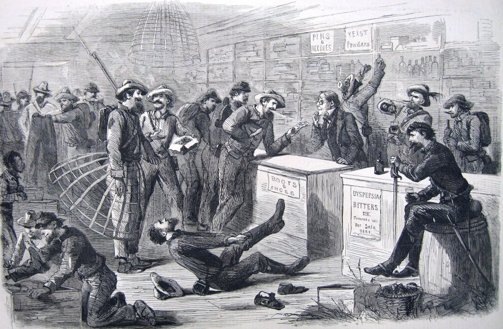"""Confederate troops """"shop"""" in a store in Pennsylvania, exchanging bills of Confederate currency for liquor, cigars, boots and other items of clothing (New York Illustrated Newspaper, July 18, 1863, 185; courtesy of Princeton University Library)"""