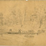 With the Union Army in pursuit of the Confederates after Gettysburg, a group of Union engineers construct a bridge across Antietam Creek near Funkstown in Washington County (July 11, 1863, Charles E.H. Bonwill, artist; courtesy of the Becker Collection, Boston, MA)