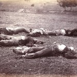 Union soldiers killed on the battles first day remain on the field near the McPherson woods where General Reynolds was mortally wounded (July 1863, Timothy H. O'Sullivan, photographer; Library of Congress)