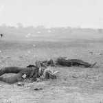 Two slain Confederate soldiers remain where they were felled near Burnside Bridge (September 1862, Alexander Gardner, photographer; Library of Congress)