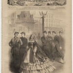 This September 1861 cover from Harpers Weekly is titled A Female Rebel in Baltimore, and shows a woman wearing clothing displaying the Confederate colors (Courtesy of Princeton University Library)