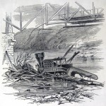 Locomotive pushed off the railway bridge by the Confederates in Harpers Ferry (Harpers Weekly, July 20, 1861; NPS History Collection)