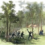 Union soldiers charge into the West Woods early in the afternoon (Antietam National Battlefield; an uncolorlized version appeared in Harper's Weekly, October 4, 1862)