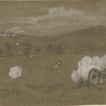 Confederate artillery firing at Union forces on the hill (July 1863, Alfred R. Waud, artist; Library of Congress)