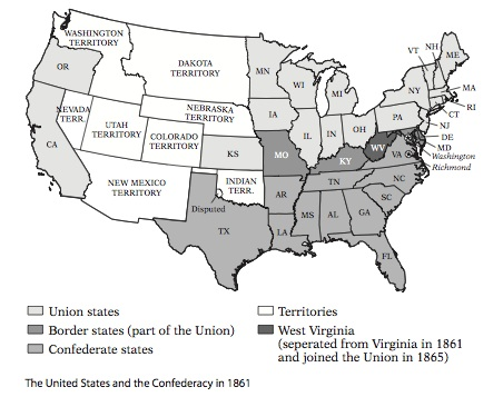 The Coming Crisis Crossroads Of War - Map of us confederate and union states 1860