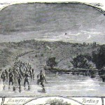 Captain William McMullin's Rangers, all volunteer firemen from Philadelphia, were the first Union forces to cross the Potomac River to engage the Confederate troops at Falling Waters (also called Battle of Hokes Run), fought in Berkeley County, VA (later WV) on July 2, 1861 (Harper's Weekly, July 27, 1861; NPS History Collection)
