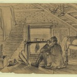 A Union signal officer, in the attic of a farm house, watching the Confederate army near Williamsport (July 12, 1863, Edwin Forbes, artist; Library of Congress)