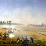 """""""Artillery Hell"""" by Captain James Hope, showing Confederate artillery near the Dunker Church firing in the early morning of September 17, 1862 (James Hope, artist, painted by 1892; Antietam National Battlefield)"""