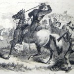Confederate cavalry officers driving stragglers back to the battle (F.H. Schell, artist; Frank Leslie's Illustrated Newspaper, October 25, 1862; courtesy of Princeton University Library)