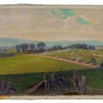 """The artist, Edwin Forbes, titled this painting """"Last Stand of the Army of Virginia, Commanded by General Lee."""" The painting shows Confederate forces dug into position near Williamsport, Maryland. (Edwin Forbes, artist; Library of Congress)"""