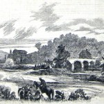 Union troops cross Antietam Creek near the Antietam Iron Works, while a woman in the foreground offers food to soldiers (F. H. Schell, artist; Frank Leslie's Illustrated Newspaper, November 1, 1862; courtesy of Princeton University Library)