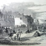 Rendezvous of the Jefferson Battalion of Virginia soldiers at Halltown on April 18, 1861, before marching on the Union forces in nearby Harpers Ferry (Harper's Weekly, May 11, 1861, D.H. Strother, artist; NPS History Collection)