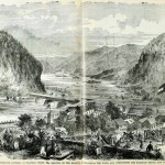 Confederate battery on the heights in Harpers Ferry (Paul F. Mottelay and T. Campbell-Copeland, eds. Frank Leslie's The Soldier in Our Civil War Vol. I [New York: Stanley Bradley Publishing Co., 1893], 394-395; originally appeared in Frank Leslie's Illustrated Newspaper, June 1, 18610)