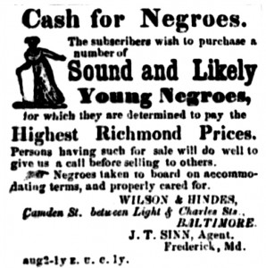 Advertisement for slaves (Frederick Herald, February 14, 1860)