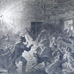 A shell bursting in the cellar window of the John Kretzer house in Sharpsburg, where townspeople had retreated for safety (F.H. Schell, artist; Frank Leslies Illustrated Newspaper, October 25, 1862; courtesy of Princeton University Library)