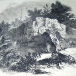 Many residents of the region sought shelter from the impending battle in Killiansburg Cave on the banks of the Potomac River near Sharpsburg (F.H. Schell, artist; Frank Leslie's Illustrated Newspaper, October 25, 1862; courtesy of Princeton University Library)
