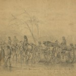 A heavy gun is wheeled forward after the Battle of Gettysburg as Union troops pursue the retreating Confederates (July 10, 1863, Edwin Forbes, artist; Library of Congress)