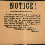Broadside from mayor of Charlestown, dated November 30, 1859, urging residents to stay indoors on the nights immediately before John Brown's hanging  (Gettysburg National Military Park)