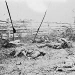 Confederate corpses near a fence alongside the Hagerstown road on the battlefield of Antietam (September 1862, Alexander Gardner, photographer; Library of Congress)