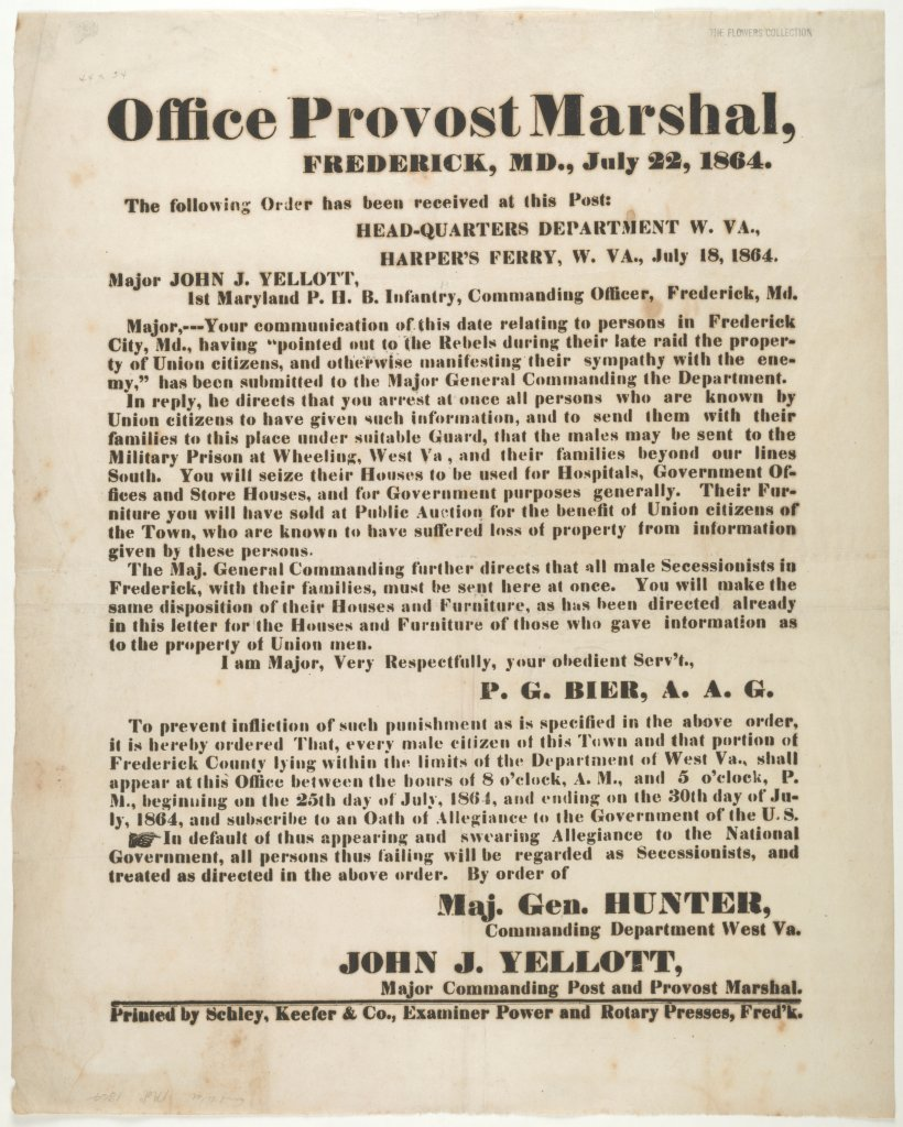 A broadside printed in Frederick with Hunter's order  (Perkins Library, Duke University)