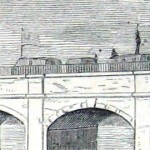 A detail of the previous image showing canal transport boats and soldiers on the Monocacy Aqueduct (Harper's Weekly, September 14, 1861; NPS History Collection)