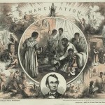 In this 1865 engraving celebrating the emancipation of Southern slaves following the end of the Civil War; the left half represents the evils of slavery (a man is sold separately from his family, a woman flogged, and another man branded) while the right envisions a peaceful future (a woman sends her African American children off to public school and African American workers receive their pay from a cashier (ca. 1865, Thomas Nast, engraver; Library of Congress) 20a. Detail of previous image
