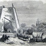 The supply trains for General Burnside's corps stream past the Antietam Iron Works on the Antietam Creek (A. Lumley, artist; The New-York Illustrated News, October 25, 1862; courtesy of Princeton University Library)