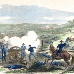 The 1st Maryland Light Battery (Union) firing towards the Dunker Church in the center of the battlefield (Alfred Waud, artist; Antietam National Battlefield; an uncolorized version appeared in Harper's Weekly, October 11, 1862)