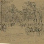de set up rifle pits and cannon in the woods on the left side of the Union line (July 1863, Alfred R. Waud, artist; Library of Congress)