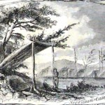 Lean-to's in the former Confederate Camp Stephens near Falling Waters (Harper's Weekly, July 27, 1861; NPS History Collection)