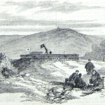 Union soldiers gather around a campfire on top of Loudoun Heights while a comrade communicates with a signal station on Maryland Heights (Frank Leslie's Illustrated News, November 8, 1862; courtesy of Princeton University Library)