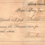 Travel pass from Provost Marshal, Harpers Ferry, November 23, 1863 (Harpers Ferry National Historical Park)
