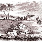 """Battery at Edward's Ferry, sketched by D.H. Strother (D.H. Strother, """"Personal Recollections of the War by a Virginian, Third Paper,"""" Harper's New Monthly Magazine 3 [Sept. 1866]: 422)"""